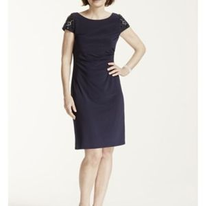 Eliza J - Navy dress with beaded shoulders